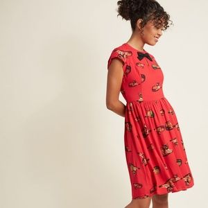Modcloth Bow Front A-Line Dress in Crimson Cat  M